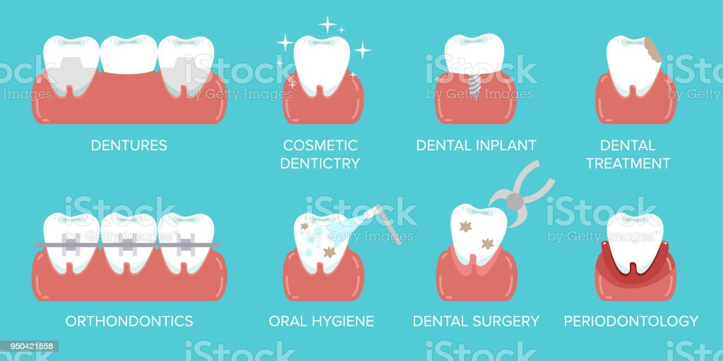 Types of dental clinic services. Stomatology and dental procedures flat icons. Toothcare vector illustration. Flat design style modern vector illustration concept. vector art illustration