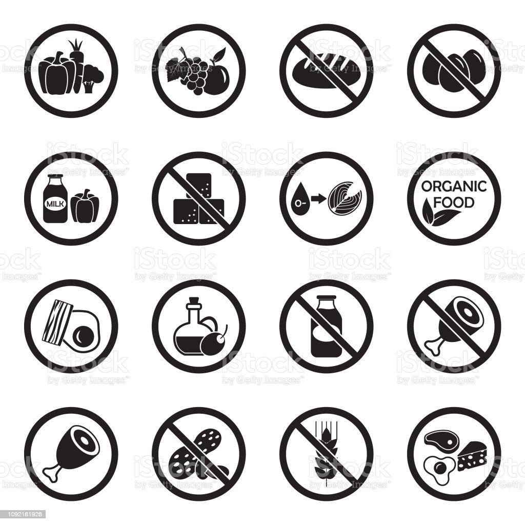 Arten von Diäten Symbole. Schwarze flache Bauweise. Vektor-Illustration. – Vektorgrafik