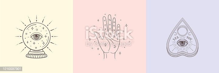 Types of Divination: palmistry, crystal ball, ouija planchette. Witch and magic symbols, monochrome vector illustration, isolated on white background.