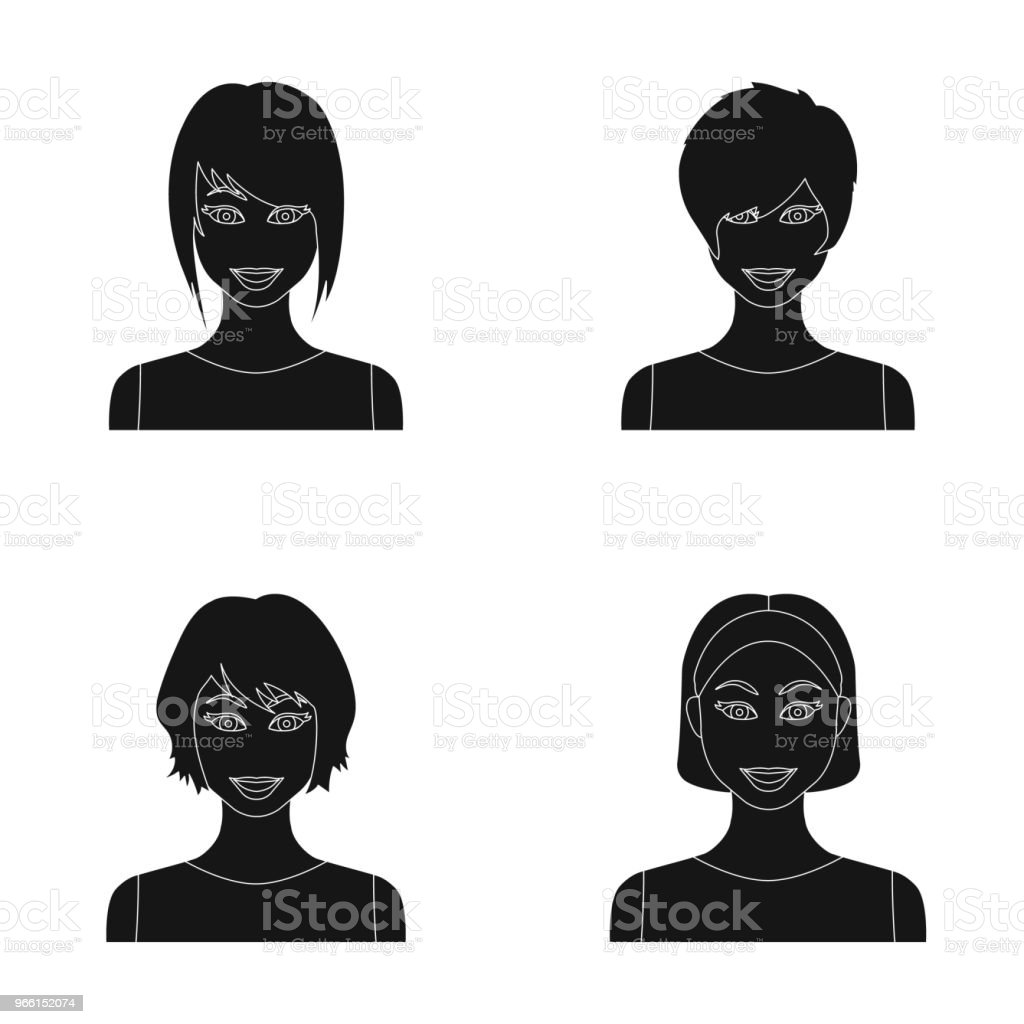 Types of female hairstyles black icons in set collection for design. Appearance of a woman vector symbol stock web illustration. - Royalty-free Hairstyle stock vector