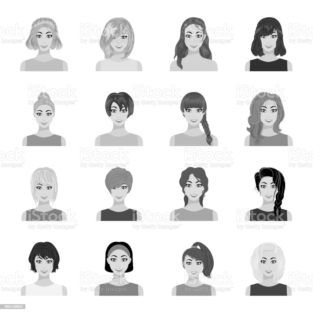 Types of female hairstyles monochrome icons in set collection for design. Appearance of a woman vector symbol stock web illustration. types of female hairstyles monochrome icons in set collection for design appearance of a woman vector symbol stock web illustration - stockowe grafiki wektorowe i więcej obrazów fryzura royalty-free