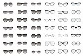Kinds of sunglasses. Many types of glasses. Fashion collection. Forms of fashionable  spectacles. Vector set. All glasses with translucent glass.