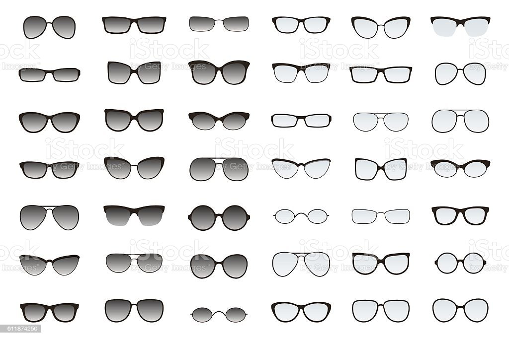 Types of glasses and sunglasses. Big flat vector set. vector art illustration