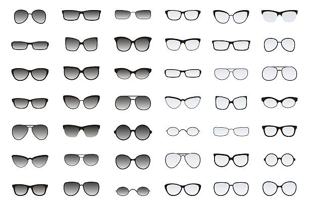 types of glasses and sunglasses. big flat vector set. - sunglasses stock illustrations, clip art, cartoons, & icons