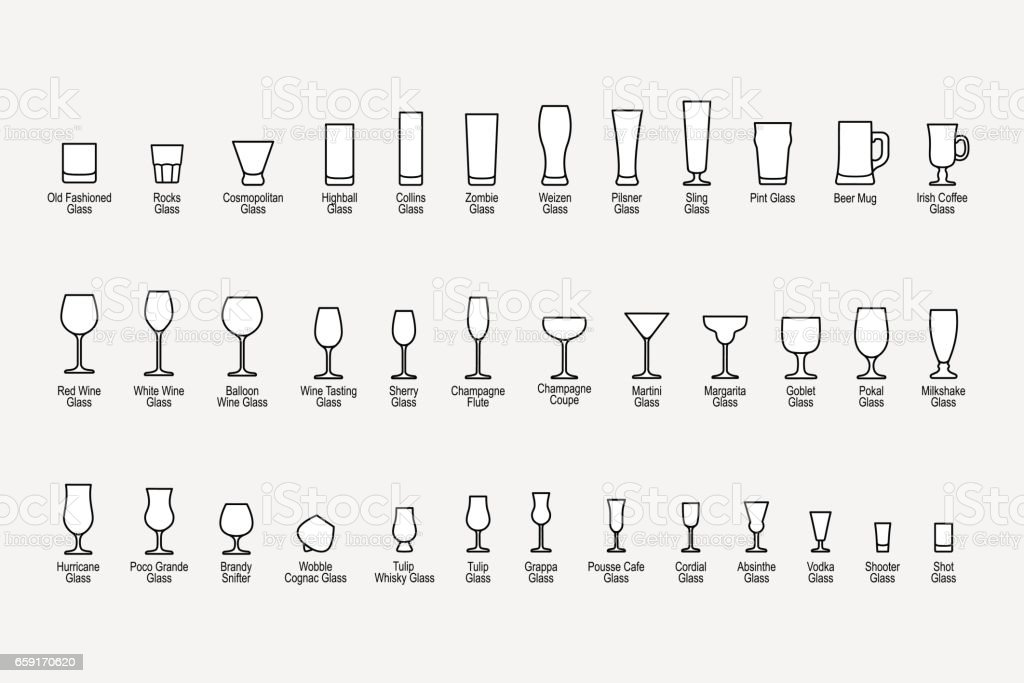 Types of glasses with names, line icons set. Vector illustration vector art illustration