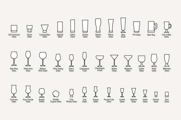 Types of glasses with names, line icons set. Vector illustration Types of glasses with names, line icons set on white background. Vector illustration martini glass stock illustrations