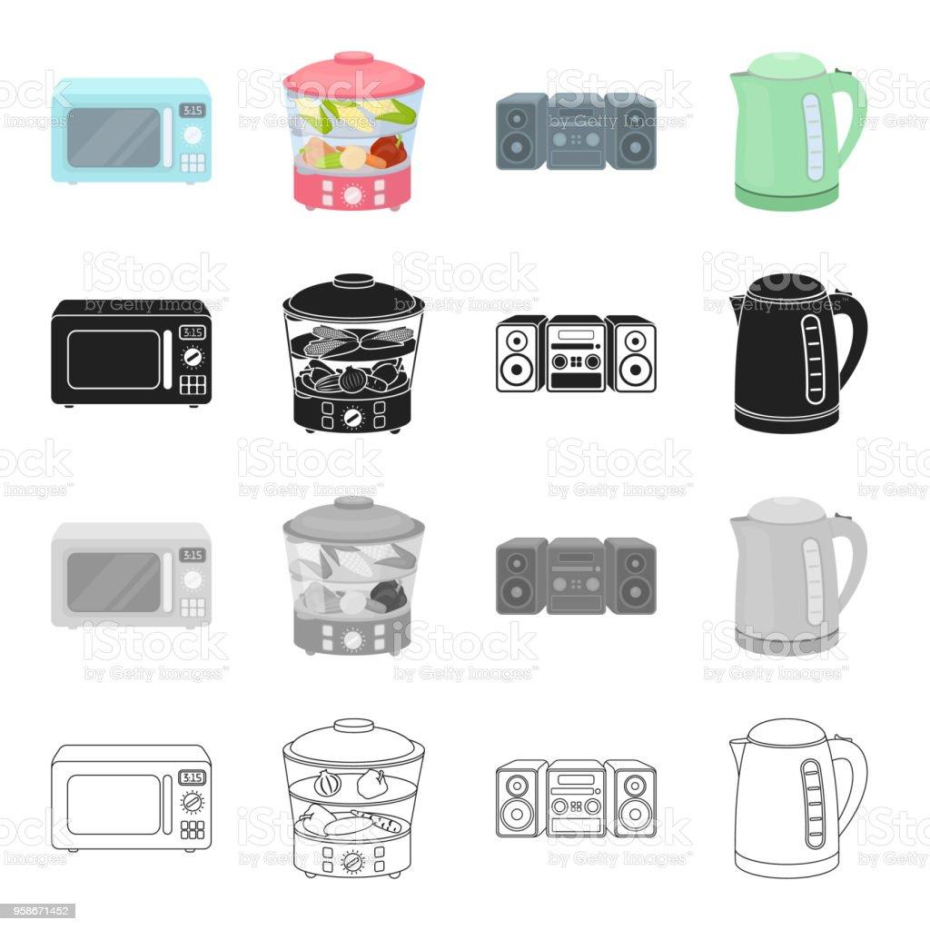 Types Of Household Appliances Cartoon Black Monochrome Outline Icons ...