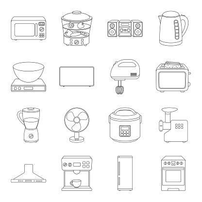 가전 제품의 종류 아이콘 디자인에 대 한 설정 컬렉션을 설명합니다 부엌 장비 벡터 기호 재고 웹 그림입니다 LCD에 대한 스톡 벡터 아트 및 기타 이미지