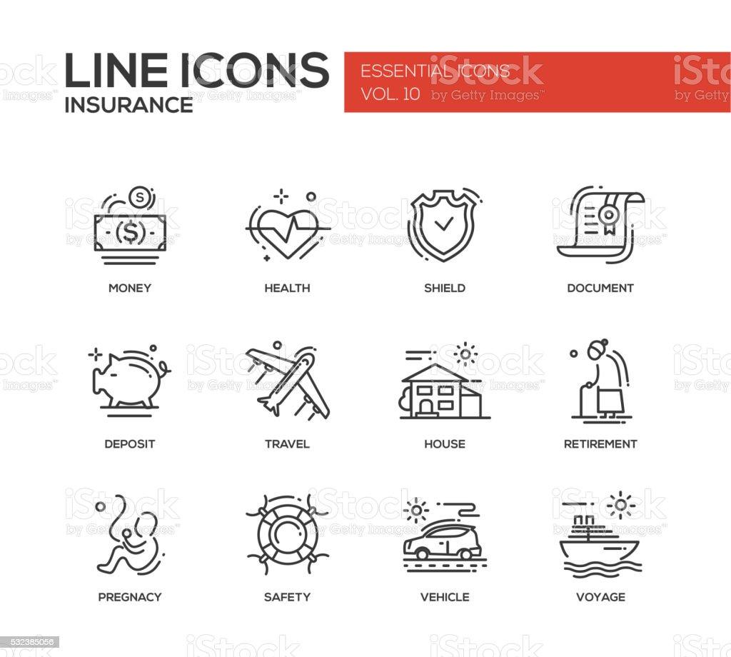 Types of Insurance - line design icons set vector art illustration