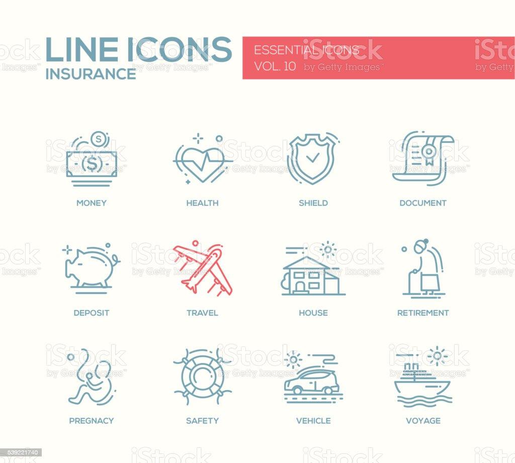 Art von Versicherung symbole set-Linie – Vektorgrafik