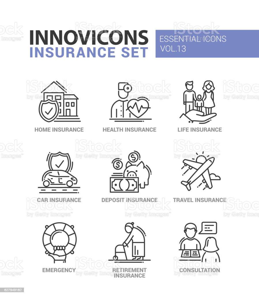 Types of insurance line design icons set - ilustração de arte em vetor