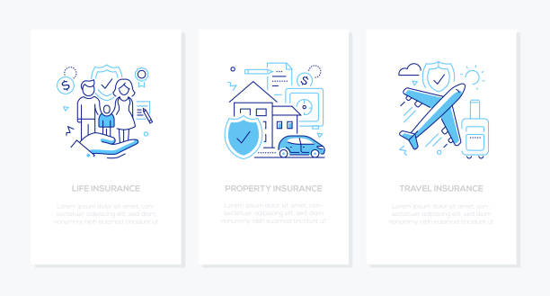 Types of insurance - line design style banners set vector art illustration