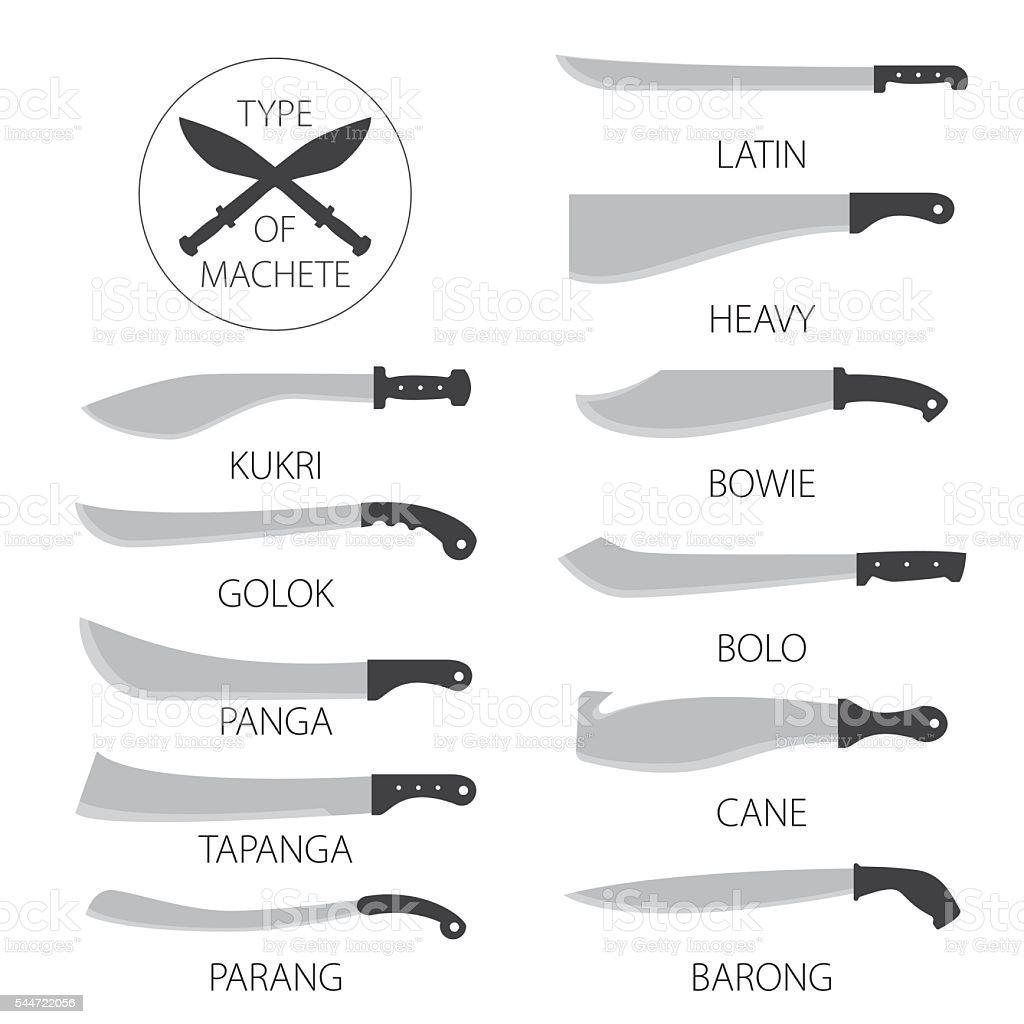 types of knives machetes stock vector art 544722056 istock. Black Bedroom Furniture Sets. Home Design Ideas