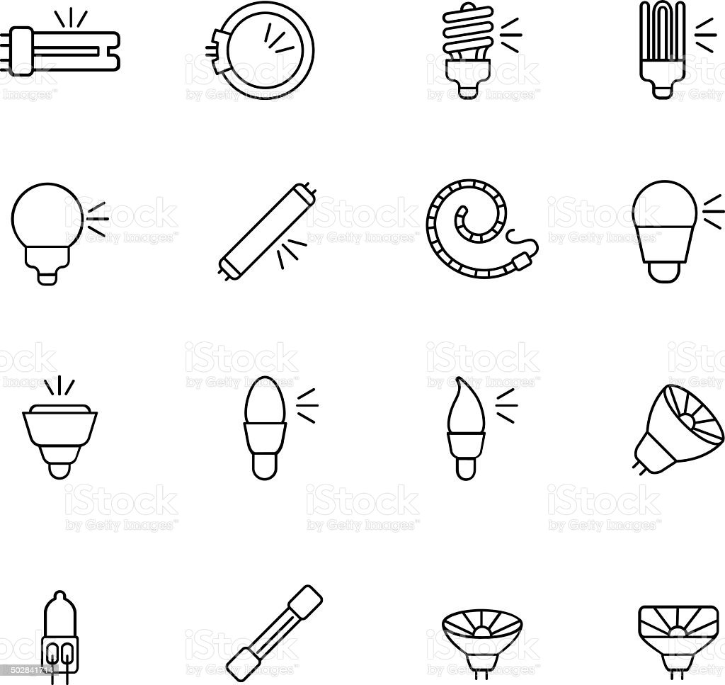 Types of light bulbs for different types of lighting as line icons vector art illustration