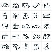 An icon set illustrating several different types of loans. the icons include a car, RV, home improvement, home repair, house, wedding ring, sail boat, motor boat, loan approval, financial institution, bank, education, new construction, motorcycle, business, watercraft, interest rate, airplane, wedding, ATV, money, cash, deb, and contract to name a few.