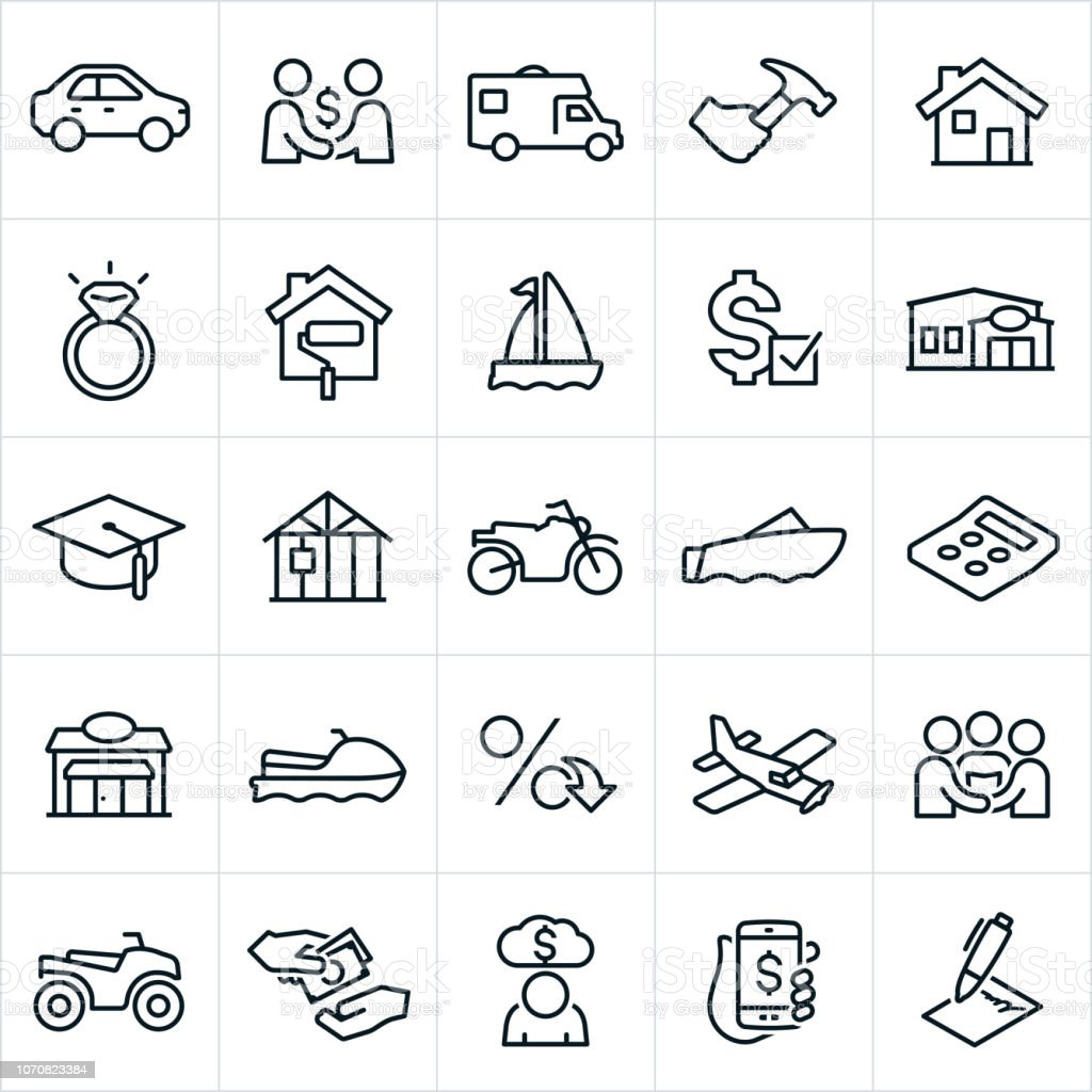 Types of Loans Icons vector art illustration