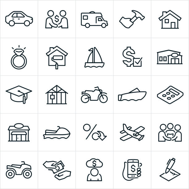 Types of Loans Icons An icon set illustrating several different types of loans. the icons include a car, RV, home improvement, home repair, house, wedding ring, sail boat, motor boat, loan approval, financial institution, bank, education, new construction, motorcycle, business, watercraft, interest rate, airplane, wedding, ATV, money, cash, deb, and contract to name a few. car icons stock illustrations