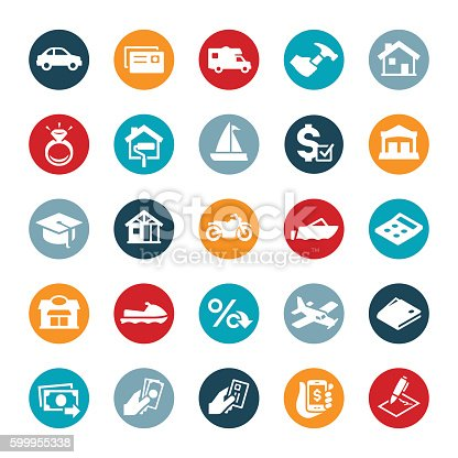 A set of icons symbolizing different items commonly purchased using a loan. They include vehicles, car, RV, home improvement, wedding ring, watercraft, education, motorcycle, construction, boat, business and airplane just to name a few.