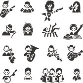 Several Types of Music related icons. JPG file and EPS8 file.