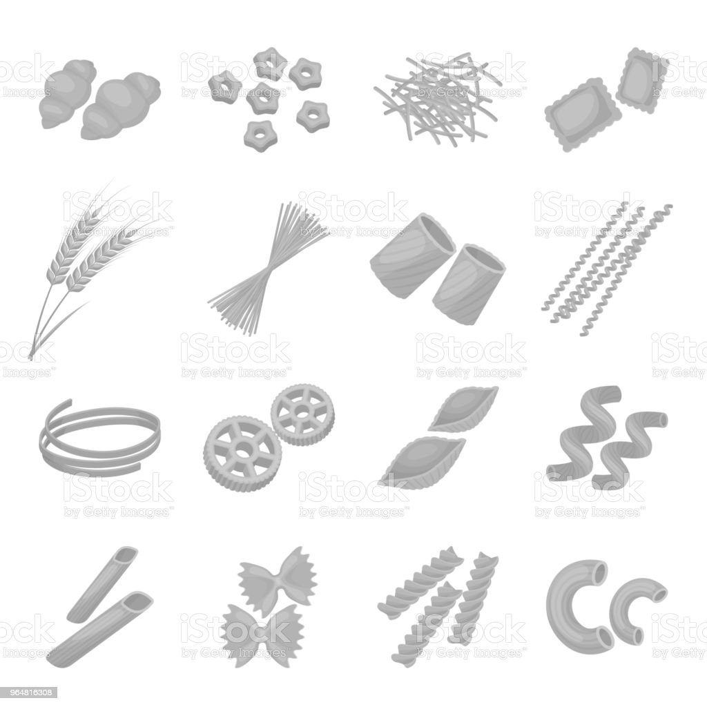 Types of pasta monochrome icons in set collection for design. Figured macaroni for eating vector symbol stock web illustration. royalty-free types of pasta monochrome icons in set collection for design figured macaroni for eating vector symbol stock web illustration stock vector art & more images of bow tie pasta