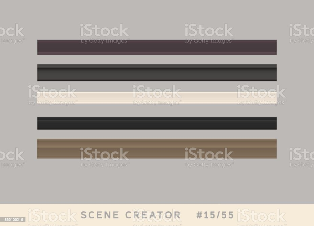 5 types of plinth borders. Isolated vector objects set. vector art illustration