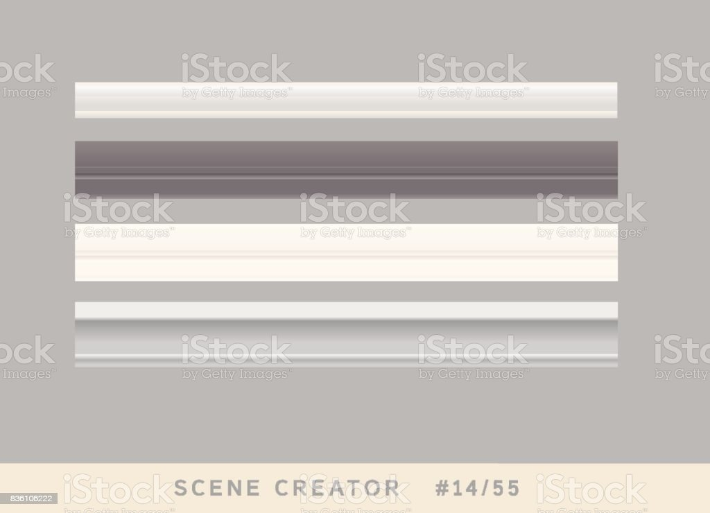 4 types of plinth borders. Isolated vector objects set. vector art illustration