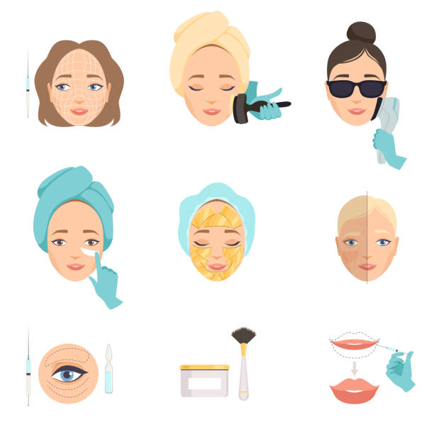 Types of procedures for face rejuvenation. Therapy processes for facelift and wrinkles. Beauty theme. Flat vector for poster of cosmetology salon vector art illustration