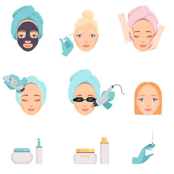 ilustrações, clipart, desenhos animados e ícones de tipos de procedimentos para rejuvenescimento facial e produtos para cuidados do rosto. tema de indústria de cosméticos e beleza. icons vector plana - tratamentos de beleza