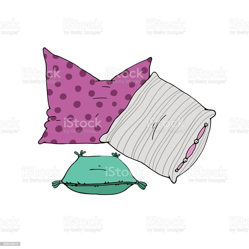 Types of sleeping pillows set. vector art illustration