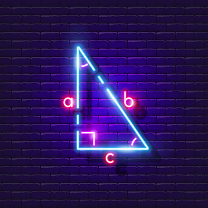 Types of triangle neon sign. Geometry lesson glowing icon. Vector illustration for design. School concept.