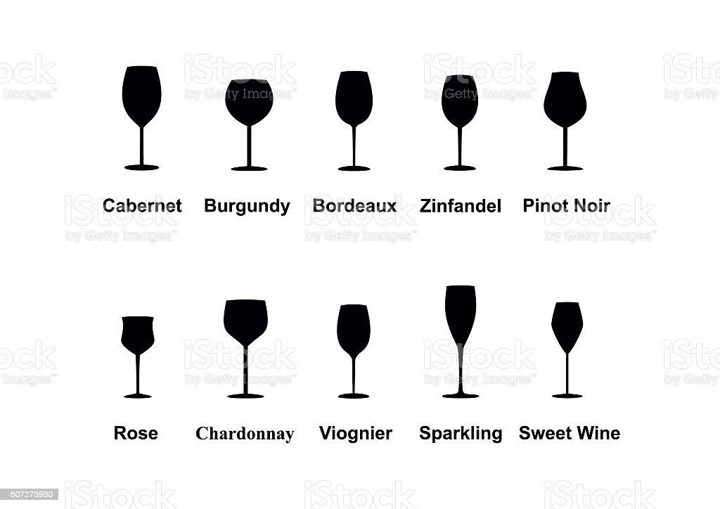 Types of Wine Glasses, set icons. Vector Illustration vector art illustration
