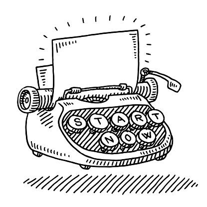 Typewriter Blank Paper Start Now Concept Drawing