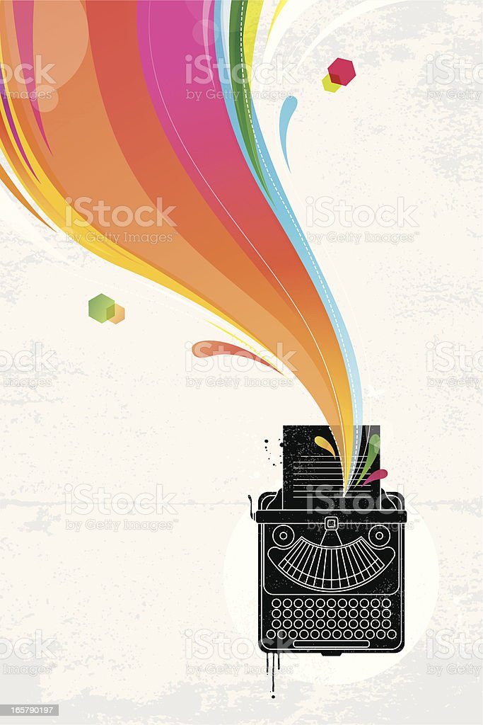 Typewriter colourful graffiti royalty-free stock vector art
