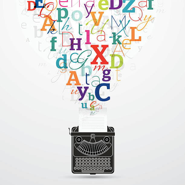 Typewriter colourful letters coming out vector art illustration