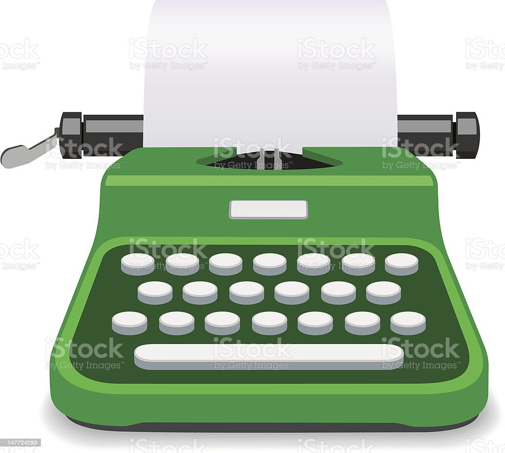 Typewriter Green Vector royalty-free stock vector art