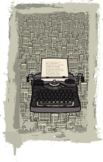 Typewriter in the city vector illustration