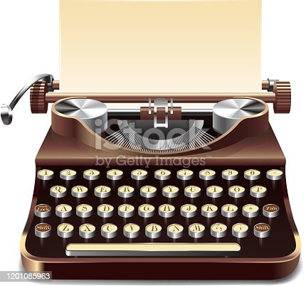 Realistic old style typewriter with paper sheet isolated on white background vector illustration