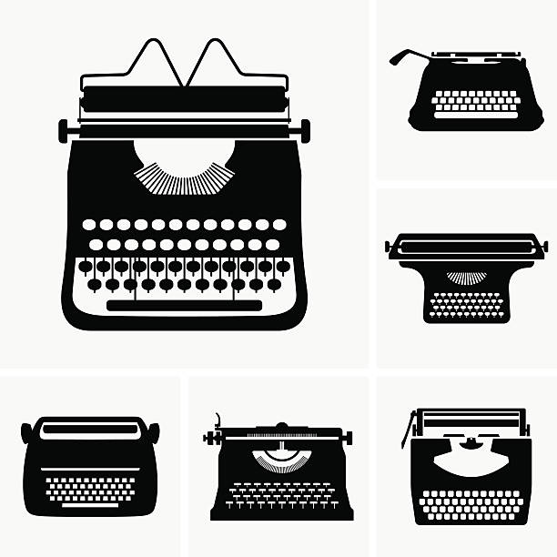 Typewriter Available in high-resolution and several sizes to fit the needs of your project. book silhouettes stock illustrations