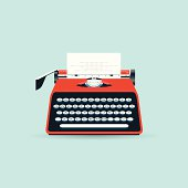 Vector old typewriter with a blank paper (EPS 10)