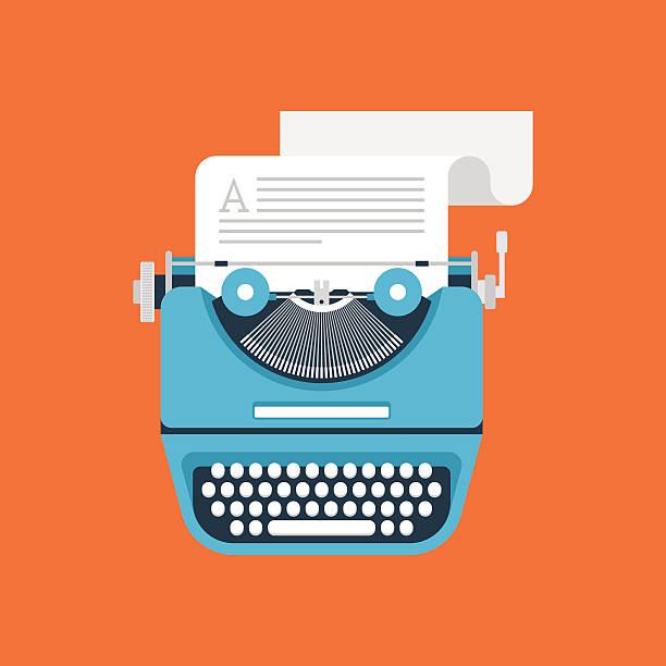Typewriter Vector illustration of flat vintage typewriter isolated on orange background. storytelling stock illustrations