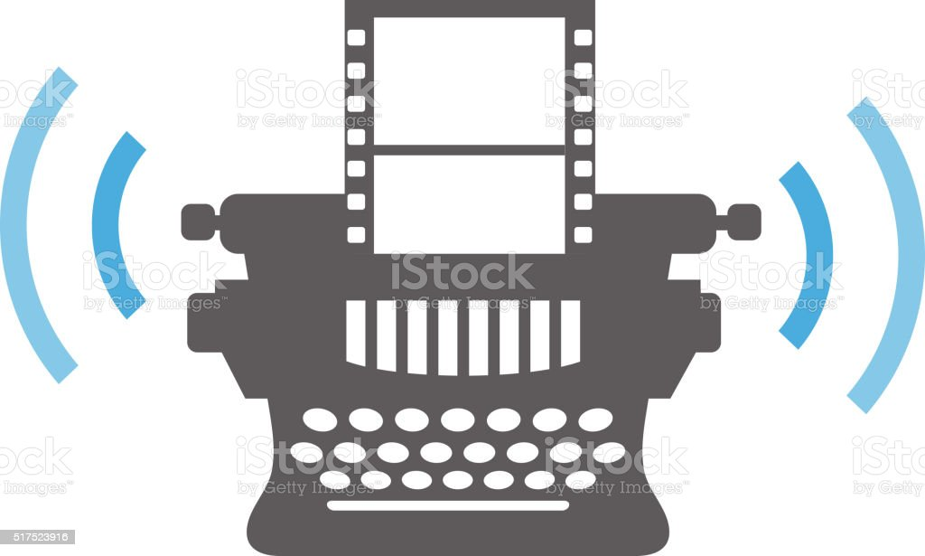 Typewriter with filmstrip media concept icon royalty-free typewriter with filmstrip media concept icon stock vector art & more images of camera film