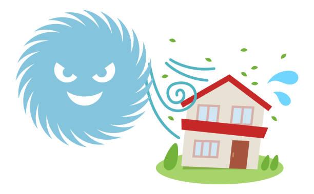 台風被害住宅 ベクターアートイラスト