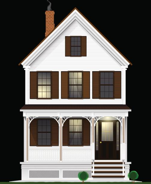 A typical and classic American house made of wood painted with white paint. Two floors, basement and attic. Night view. A typical and classic American house made of wood painted with white paint. Two floors, basement and attic. View from the facade. porch stock illustrations
