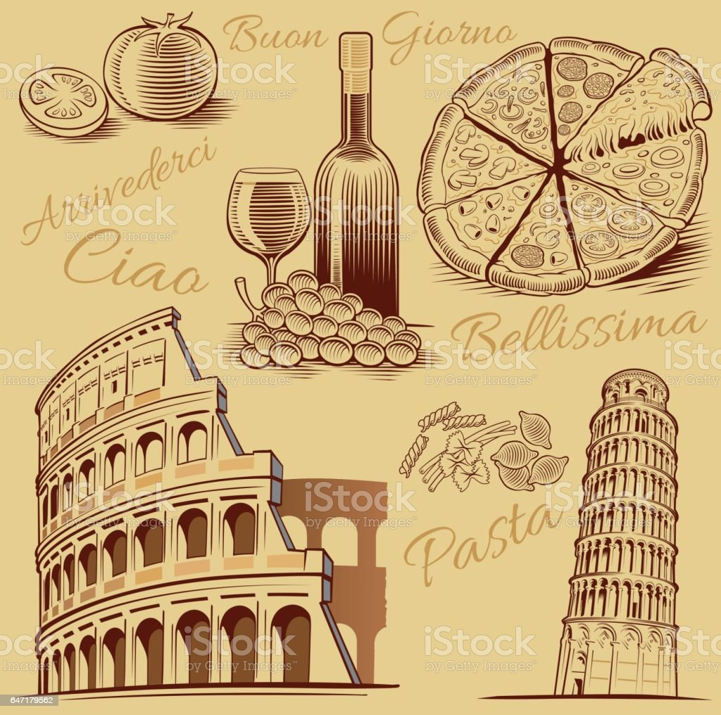 typical italian food, pizza, pasta, tomato, wine and Roma Colosseum drawing vector art illustration