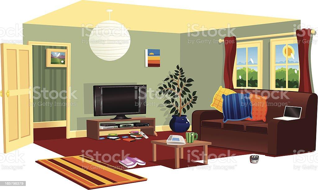Typical livingroom scene vector art illustration