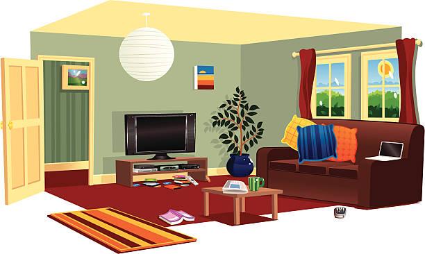 ilustrações de stock, clip art, desenhos animados e ícones de típica cena livingroom - coffee table