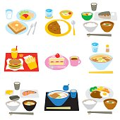 Typical meals in Japan, breakfast and lunch, dinner, snacks, vector file