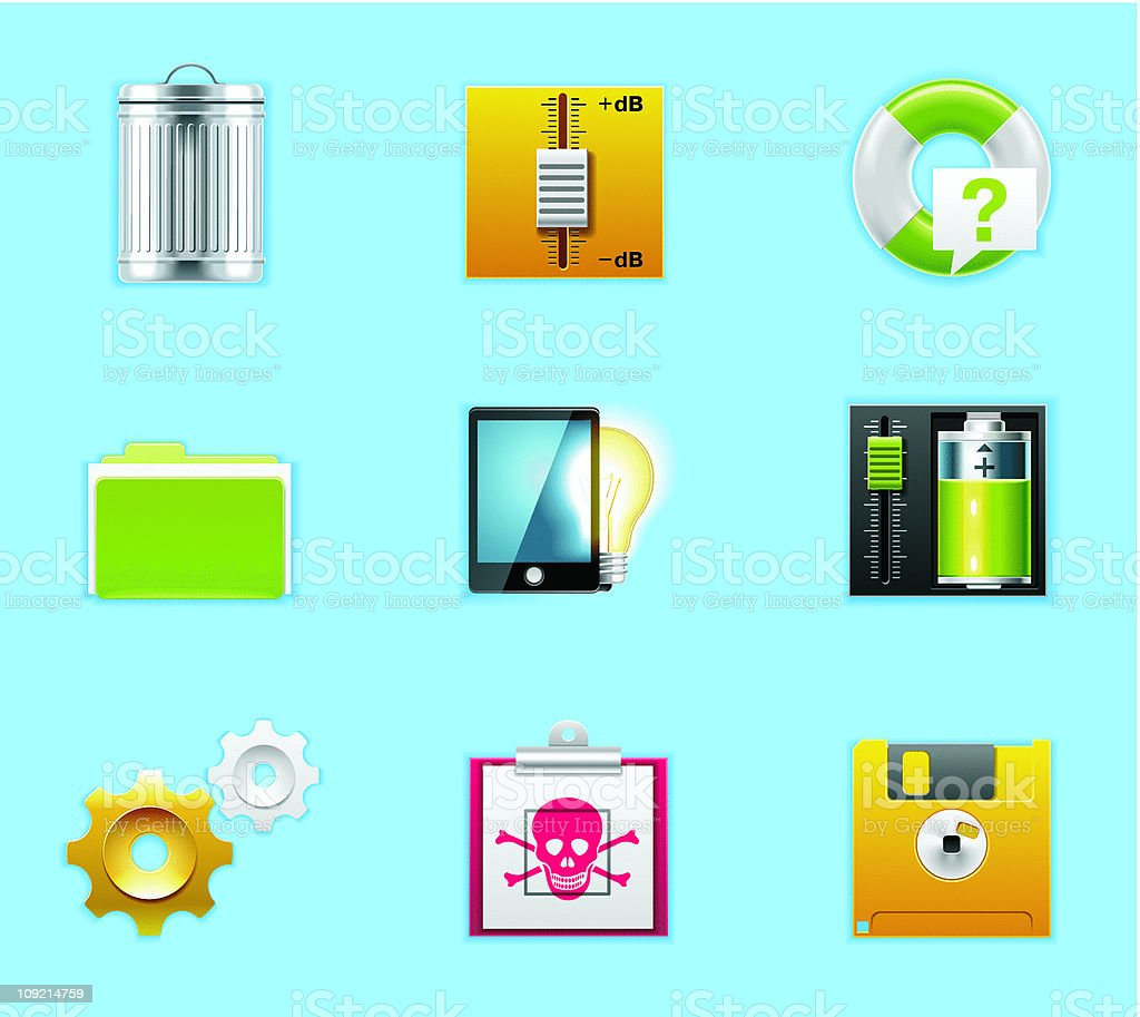 Typical Mobile Phone Icons Stock Vector Art More Images Of