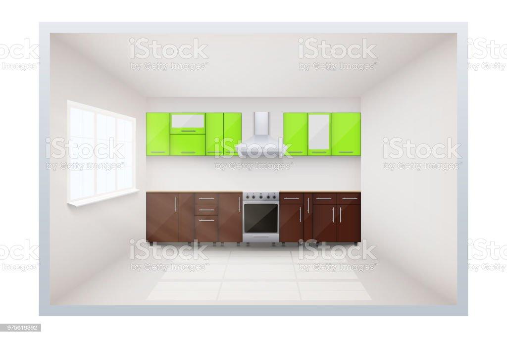 Típica cocina modular - ilustración de arte vectorial