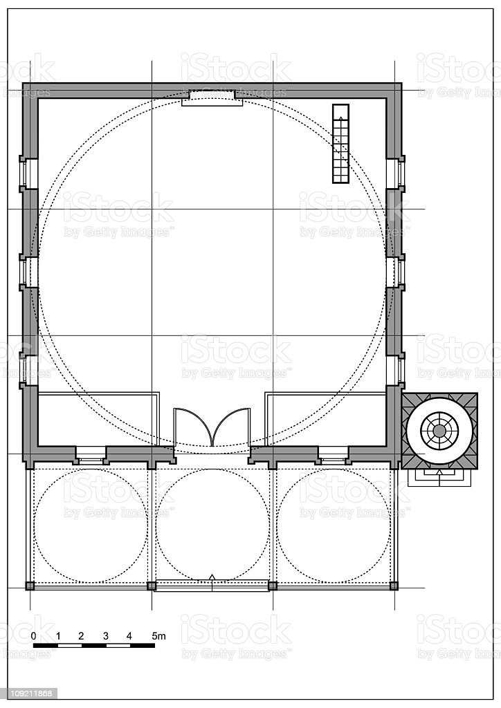 typical mosque plan in grayscale vector art illustration